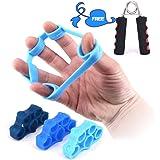 Kindax 3Pcs Finger Exerciser Elastici per L'allenamento delle Dita Plus 1 Hand Grip Pinza Mano Kit Perfetto per Rinforzare Di