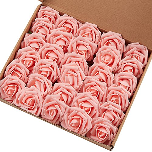 Marry Acting Künstliche Rosen, fühlen sich an wie echte Rosen, für selbstgesteckte Blumensträuße zur Hochzeit, Party, Babyparty, Muttertag und Heimdekor, 30 Stück hellrosa