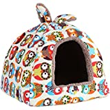 Pets Sleep House Soft Warm Dog Bed Cat Puppy Pet Fashionable Small Animal Sleeping House Bed(S-Owl)