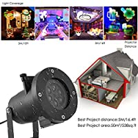 Waterproof Christmas LED Projector Light With 16 Pattern Cards ,Oenbopo Christmas Xmas Light Party Decoration Landscape Lamp Projector for Christmas, Halloween and Other Holiday by oenbopo