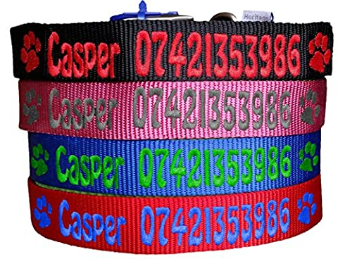 Personalised Name & Phone Number Strong Nylon Dog Collars. Pink, Blue, Red, Black. FREE Embroidered Personalisation. ID Collar. (14 Inch