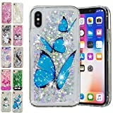 E-Mandala Coque Apple iPhone X/XS Paillette Liquide Brillante Papillon Bleu Silicone Gel Housse Etui Case Cover Transparente avec Motif Dessin Bumper Antichoc