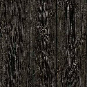 Papier peint Planches de bois brûlées trompe l'oeil (Rouleau : 10 m)
