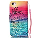 Meet de Apple iPhone 5C Bookstyle Étui Housse étui coque Case Cover smart flip cuir Case à rabat pour Apple iPhone 5C Coque de protection Portefeuille - Never stop dreaming