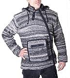KUNST UND MAGIE Baja Nepal Herren Kapuzen Strickjacke Poncho Pullover Wolle Fleecefutter Kapuze, Größe/Size:M