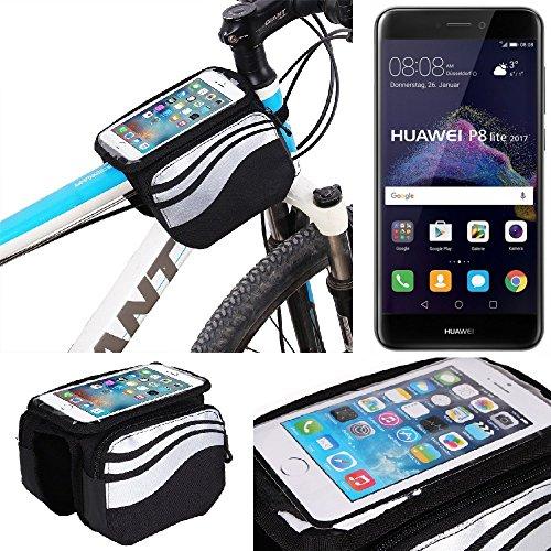 K-S-Trade Rahmentasche für Huawei P8 Lite 2017 Dual SIM Rahmenhalterung Fahrradhalterung Fahrrad Handyhalterung Fahrradtasche Handy Smartphone Halterung Bike Mount Wasserabweisend, Silber-schwar