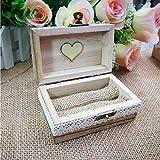 Exclusiva caja de anillo – Vintage personalizado grabado decorativo de madera caja de anillo para boda compromiso propuesta de regalo