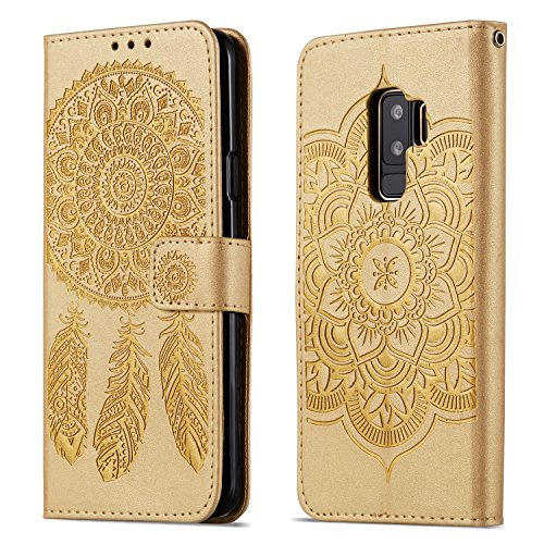 HUDDU Compatible for Gold Schutzhülle Samsung Galaxy S9 Plus Hülle Retro Dream Catcher Embossed Flip Handyhülle SlLeder Tasche Wallet Case Cover Ledertasche Kartenfach Stand Brieftasche Klapphülle -