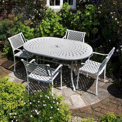 Weißes June 150 x 95cm Gartenmöbelset Aluminum - 1Weißer JUNE Tisch + 6 Weiße JANE Stühle