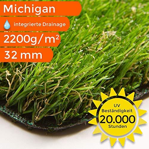 Kunstrasen Teppich Michigan | Meterware | Für Terrasse, Balkon und Garten, Größe: 200x50 cm
