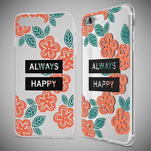 iPhone 8 Plus / 7 Plus Coque Protection de NICA, Housse Motif Silicone Portable Case Cover Transparente, Ultra-Fine Souple Slim Bumper Etui pour Apple iPhone 7+ / 8+, Designs:Butterfly Princess Always Happy