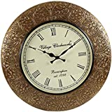 [Sponsored Products]Swagger 12 Inches Dial 18X18 Inches Heavy Embossed Art Work Brass Vintage Wall Clock