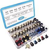 RUNCCI-YUN 20Pcs Lineal Cónico Rotativo Potenciómetro Kit, 3 Terminales B-Tipo Estéreo Audio Potenciómetro con Perilla, (B5K