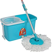 Gala Popular Spin Mop – With easy wheels, long handle, microfibre refill and water outlet – in Blue with White
