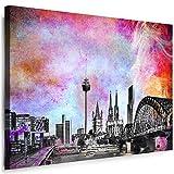 Köln Wandbild - 100 x 70 cm Querformat Bild - Leinwand mit Rahmen ( Leinwandbild ) Städte Kunstdrucke Skyline, Turm, Brücke Wanddeko St-01-19