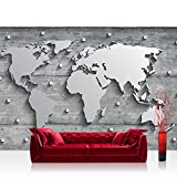 Vlies Fototapete 152.5x104cm PREMIUM PLUS Wand Foto Tapete Wand Bild Vliestapete - Welt Tapete Weltkarte metallic Metall Silber grau - no. 3329