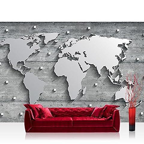 Vlies Fototapete 416x254cm PREMIUM PLUS Wand Foto Tapete Wand Bild Vliestapete - Welt Tapete Weltkarte metallic Metall Silber grau - no. 3329