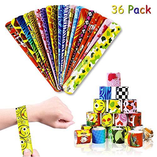 aovowog 36 PCS Pulseras de Juguete Bofetadas Slap Bracelets Snap Pulsera Banda de Pulsera para Regalo de Fiesta de Cumpleaños