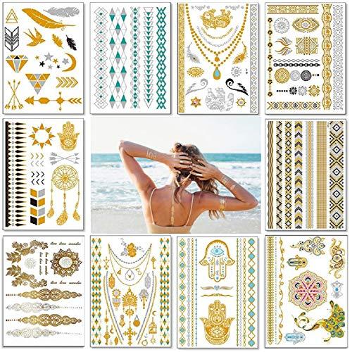 Temporäre Tattoo,Sinwind 10 sheets in Gold Silber Aufkleber Wasserdicht Tattoo Aufkleber Flash Goldener Temporäre Tattoos Gefälschte Schmuck Tattoos für Frauen Mädchen Body Art(120 + Designs)