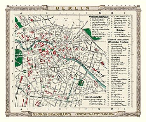 1896 Antike Karte (Alte Karte von Berlin 1896von Bradshaw–61x 50,8cm Hochwertiger Fotodruck)
