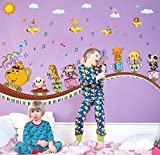 The Splash Cartoons Making Fun with Friends Wall Stickers for kid's bedroom (SK9038, Wall Covering Area - 130(w) cm X 80(h) cm)