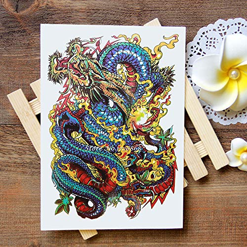 Kostüm Papier Chinesischer Drachen - Wasserdicht Temporäre Tattoos Aufkleber Große Chinesische Drachen Tattoos Flash Water Transfer Tattoos Gefälschte Tattoos Für Frauen Männer # 045