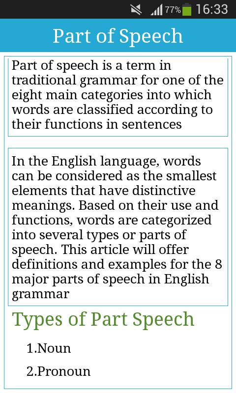 article definition part of speech
