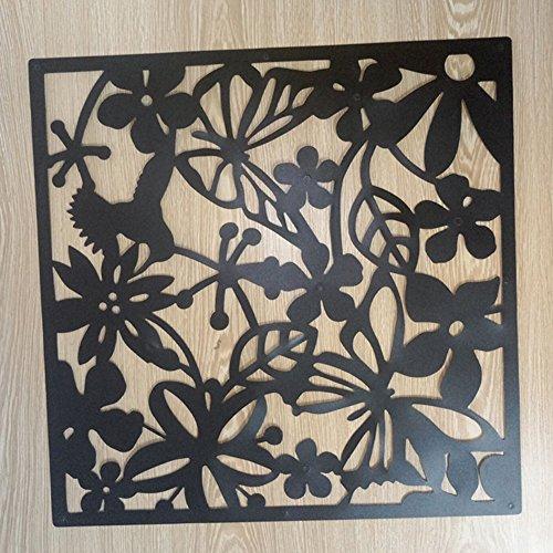 Alician Hohler Hängeschild Modern Schmetterling Blume Vorhang Raumteiler Trennwand Home Decor, Schwarz, 40cm * 40cm -