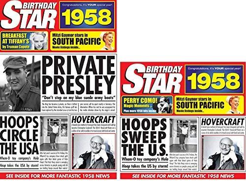 Geburtstagsgeschenk für Jahrgang1958,Geburtstags-DVD von Star, Sammel-CD und Grußkarte