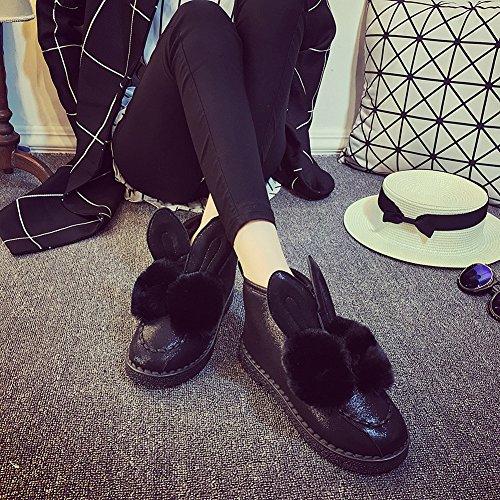 Fortuning's JDS Oreille de Fille pour Femme fausse fourrure Pompon chaussures plates Tobe Bottes de neige Noir