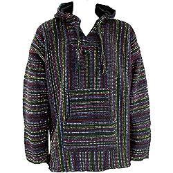 Mexican baja jerga sudadera con capucha Hippie Festival Top negro y Multi de colores M L XL XXL negro negro XXL
