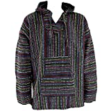 Mexican Baja, felpa con cappuccio in stile messicano hippie, nero & multicolore, M L XL XXL Black M