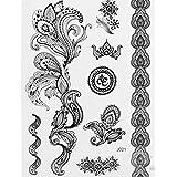 Pinzhi1 Blatt Schwarzer Blumen-abnehmbarer Spitze-Körper-Kunst-Tätowierung-Aufkleber für Kinder Männer Frauen-erwachsene Mädchen
