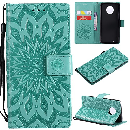 Price comparison product image NOMO Moto G6 Wallet Case,  Moto G (6th Generation) Case, Moto G6 Flip Case PU Leather Emboss Mandala SUN Flower Folio Magnetic Kickstand Cover with Card Slots for Moto G6 5.7 Inch Green