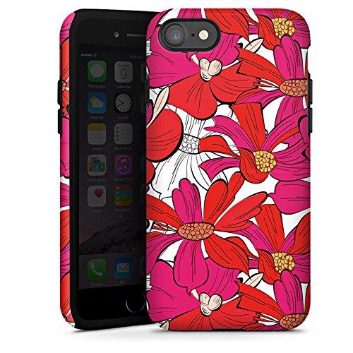 Apple iPhone X Silikon Hülle Case Schutzhülle Blumen Muster zeichnung Tough Case glänzend