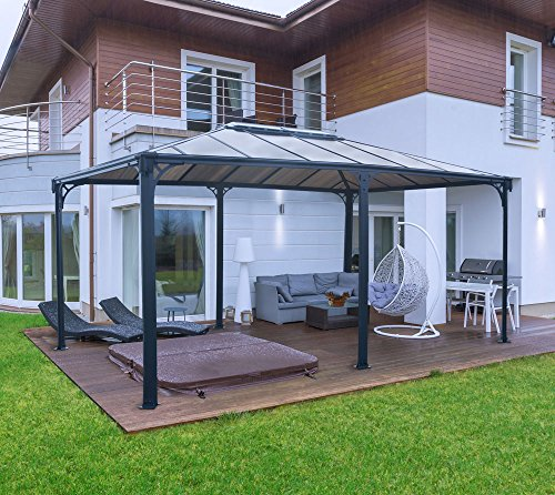 Aluminium Pavillon Überdachung Gazebo Martinique 492x359 cm//Sommer-Pavillon und Gartenpavillon mit 6mm Doppelstegplatten