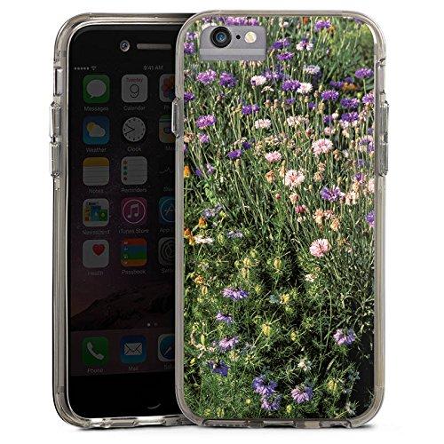 Apple iPhone X Bumper Hülle Bumper Case Glitzer Hülle Blumenwiese Wildblumen Blumenfeld Bumper Case transparent grau