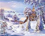 DIY Diamond Painting Rhinestone 5D Embroidery Cross Stitch Full Drill Arts for Craft Home DecorationationWinter Snow Hut