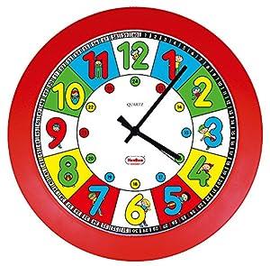 Henbea- Reloj de Cuarzo didáctico con niños, Color Rojo, 28cms de diámetro (783)
