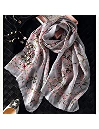 ZHANGYONG La Mujer Bufandas de Seda Seda Seda largas Bufandas Mujer Mujer Satén Mantón Seda,