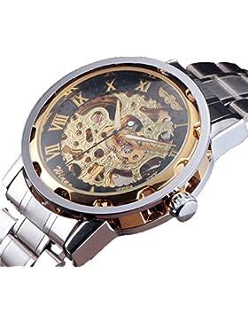 Winner Herren Klassische Stahl Zifferblatt Skelett Mechanische Sport Armee Armbanduhr