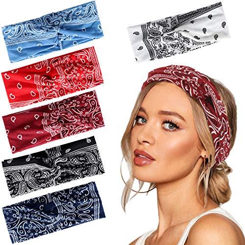 men Kopfband Haarband Turban Elastische Weiche Stirnband Blume Muster bedruckt Verdreht Baumwolle bandana kopftuch Wickeln Niedlich Haarschmuck (Cashew-Blumen 6tlg) ()