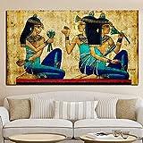 Papyrus Classique Art Papier Peint Femme Africaine Peinture à L'huile Sur Toile Pop...