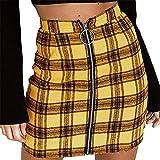 Rcool Röcke Mode Verband Wildleder Stoff a-Linie Rock Nahtlose Stretch Engen kurzen Rock für Frauen Damen (S, A-Gelb)