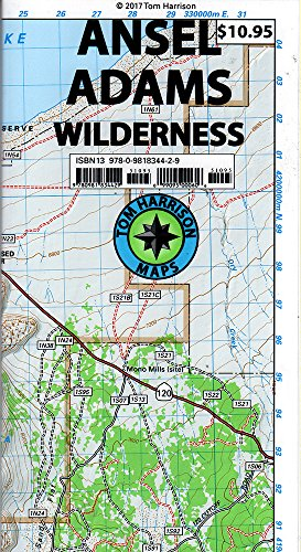 Ansel Adams Wilderness Trail Map: Shaded-Relief Topo Map (Tom Harrison Maps)