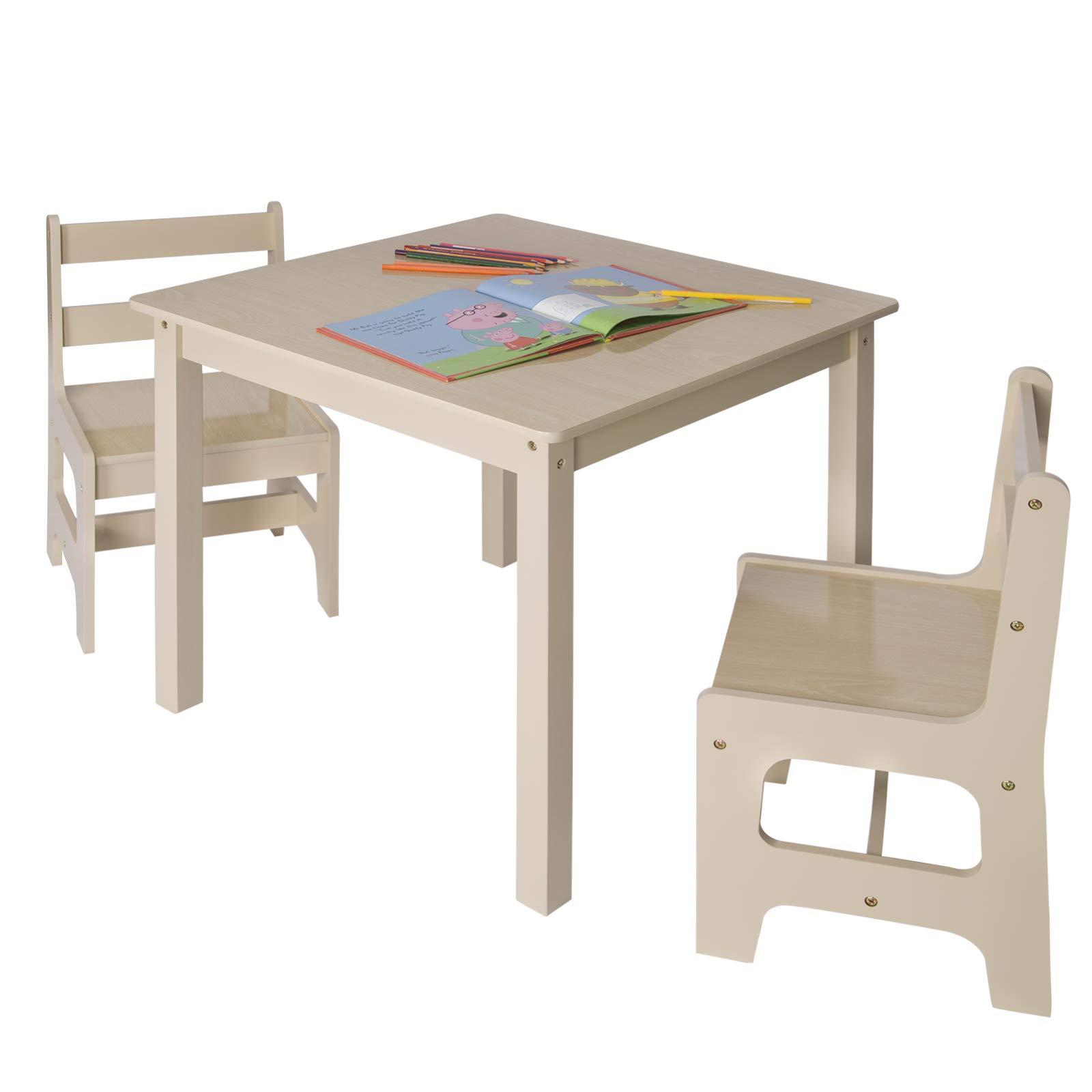 Set Tavolo E Sgabelli.Woltu Sg001 Tavolo E Sedie Per Bambini Soggiorno Tavolino Con 2 Sgabelli Set Mobili In Legno