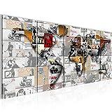 Bilder Weltkarte Banksy Collage Wandbild 200 x 80 cm Vlies - Leinwand Bild XXL Format Wandbilder Wohnzimmer Wohnung Deko Kunstdrucke Bunt 5 Teilig -100% MADE IN GERMANY - Fertig zum Aufhängen 104555a