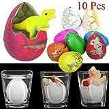 Isuper 10 unidades de huevos de dinosaurio para mascotas con diseño de gato a juego para niños, mini juguete dinosaurio figuras en el interior (colorido)