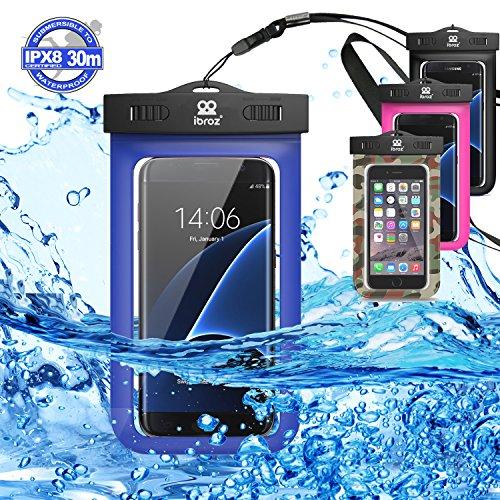 IBROZ Funda estanca Sumergible hasta 30 Metros + mosquetón, para Submarinismo, natación, navegación, para iPhone 6, 6Plus, 7, 7Plus Samsung Galaxy S6, S7, Note y Otros móviles de hasta 5,7' - Azul