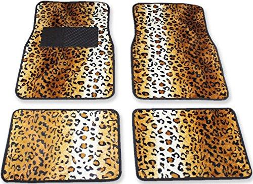 Tappeti auto universali set 4 pezzi 2 anteriori 2 posteriori in feltro 6109 leopardato